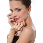 Monemel Swarovski® Taşlı Kalp Küpe Gümüş (Altın Kaplama) - Tüm Ürünler - Monemel