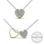 Sevgililer Günü Özel Swarovski Taşlı Çift Kalp Kolye (Altın Kaplama) - Anneler Günü - Monemel