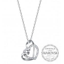 Swarovski Taşlı Çift Kalp Kolye (Altın Kaplama)