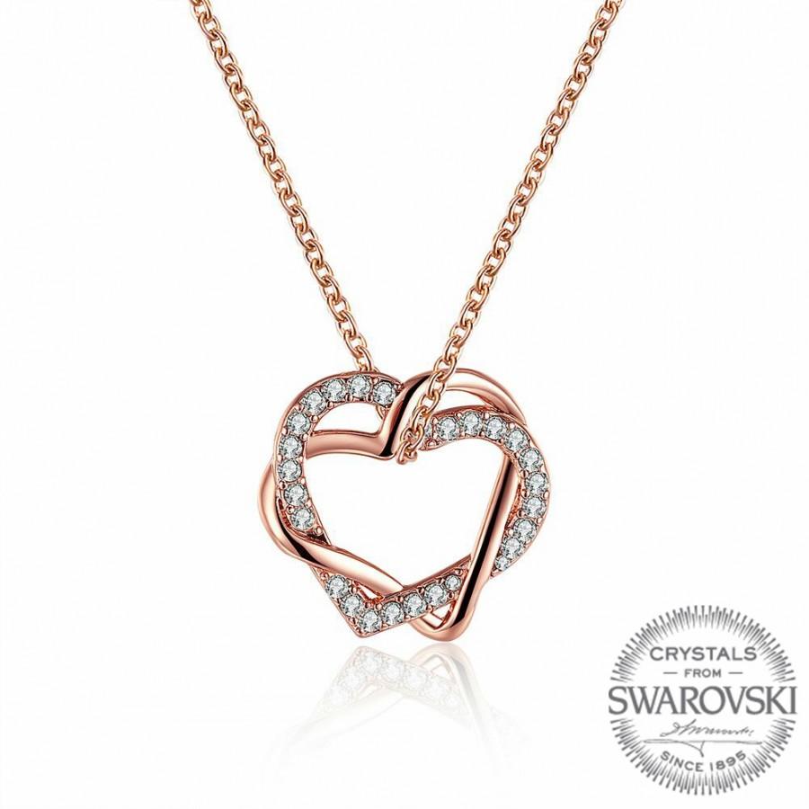 Sevgililer Günü Özel Swarovski Taşlı Çift Kalp Gold Kolye (Altın Kaplama) - Anneler Günü - Monemel