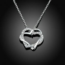 Sevgililer Günü Özel Swarovski Taşlı Çift Kalp Kolye (Altın Kaplama)