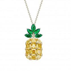 Monemel Swarovski Taşlı Ananas Kolye - Uzun Zincirli (Altın Kaplama)