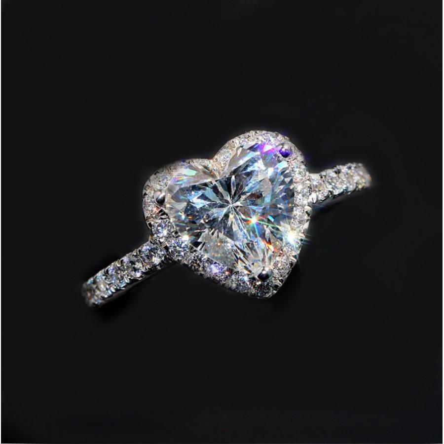 Sevgililer Günü Özel Swarovski Taşlı, Gümüş Kalp Yüzük (Altın Kaplama) - Tüm Ürünler - Monemel