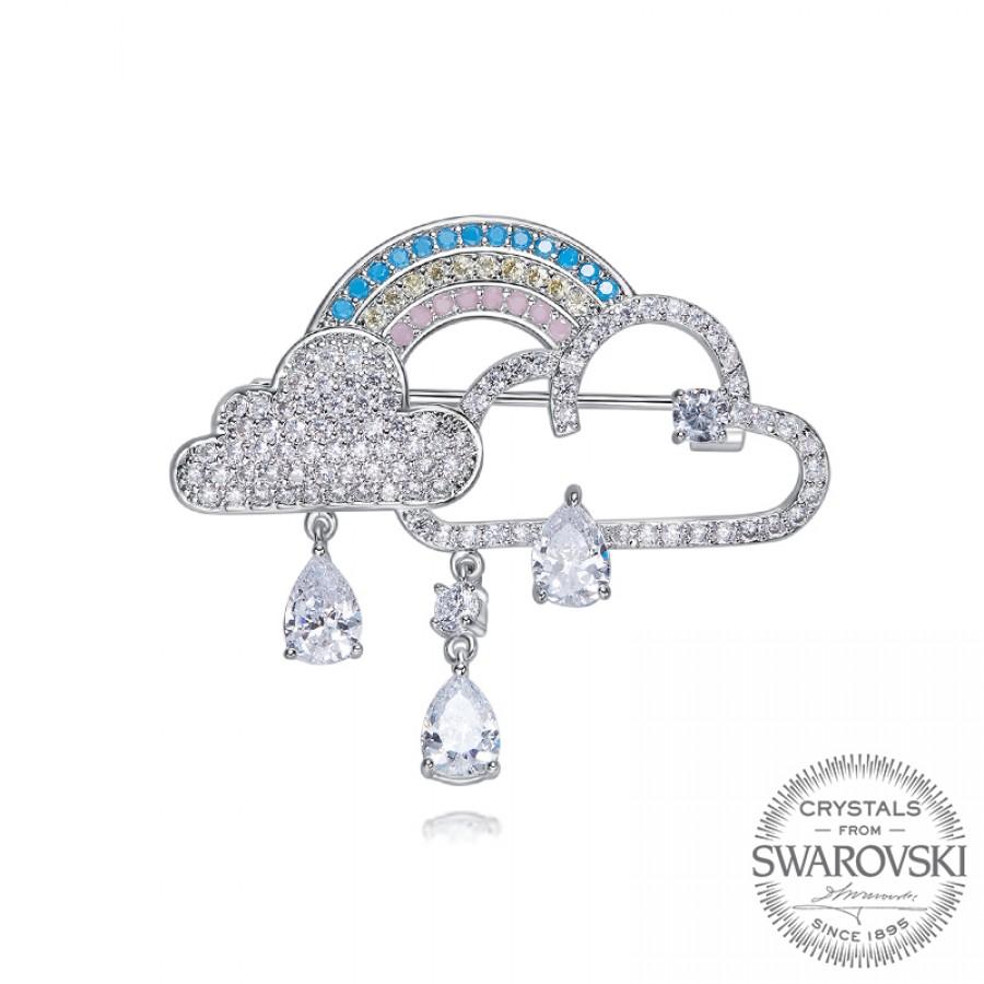 Monemel Swarovski Taşlı Bulut Yaka İğnesi - Anneler Günü - Monemel