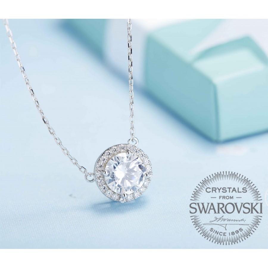 Monemel Swarovski Taşlı Gümüş Kolye (Altın Kaplama) - Anneler Günü - Monemel