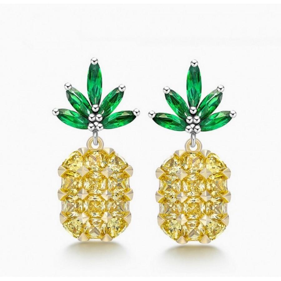 Monemel Swarovski Taşlı Ananas Küpe (Gümüş) - Tüm Ürünler - Monemel