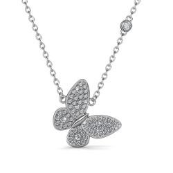Monemel Swaroski Taşlı Kelebek Kolye Gümüş