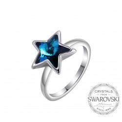 Monemel Mavi Swarovski Taşlı Yıldız Yüzük (Altın Kaplama)