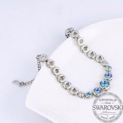 Monemel Mavi Swarovski® Taşlı, Bileklik (Altın Kaplama)