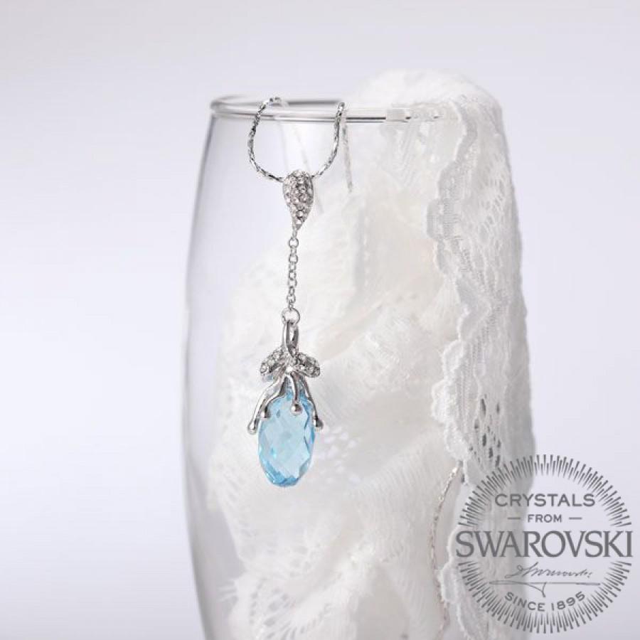 Monemel Swarovski Taşlı Buz Mavisi Kolye Gümüş üzeri Altın Kaplama - Tüm Ürünler - Monemel