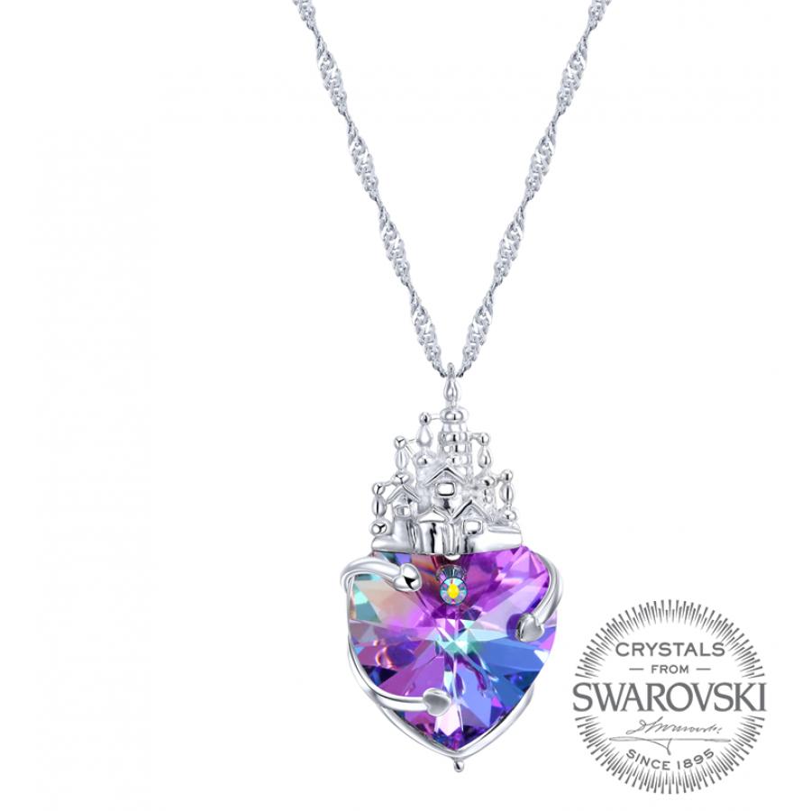 Sevgililer Günü Özel Mor Swarovski Taşlı Gümüş Kalp Kolye (Altın Kaplama) - Anneler Günü - Monemel