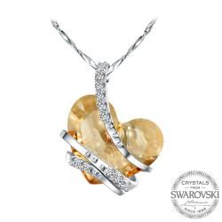 Monemel Bal Rengi Swarovski Taşlı Gümüş Kalp Kolye (Altın Kaplama)