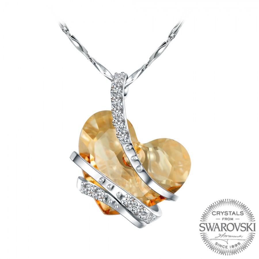 Monemel Bal Rengi Swarovski Taşlı Gümüş Kalp Kolye (Altın Kaplama) - Kolye - Monemel
